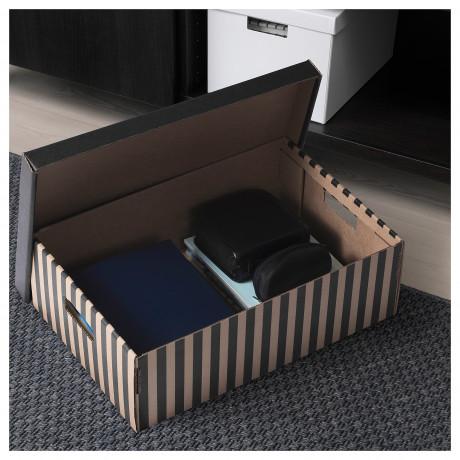 Коробка с крышкой ПИНГЛА черный, естественный фото 2